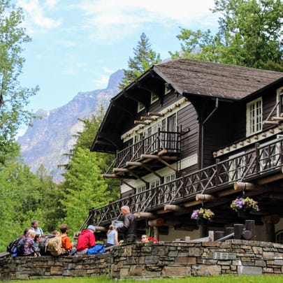 Lake McDonald Lodge is already bustling with visitors.