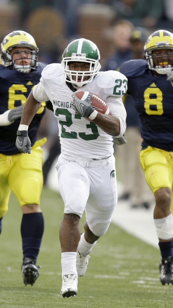 Javon Ringer helped MSU race away from Michigan on Oct. 25, 2008, rushing for 194 yards on 37 carries, including this 64-yard touchdown run in the second quarter.