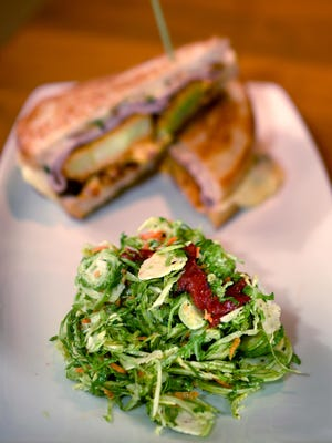 Tupelo Honey Cafe's shaved brussels sprouts salad with honey vinaigrette and havarti melt