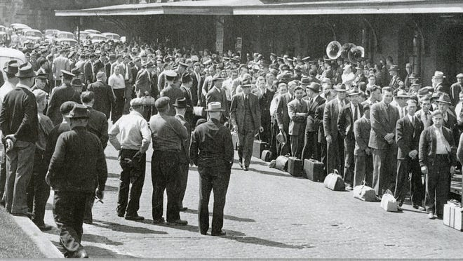 Area men waiting to go off to war at the Lackawanna Station, 1942.