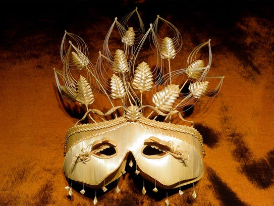 Janet Christenot's Mardi Gras mask made from wheat