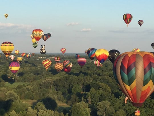 A mass ascension over the Hunterdon County countryside during the balloon festival.