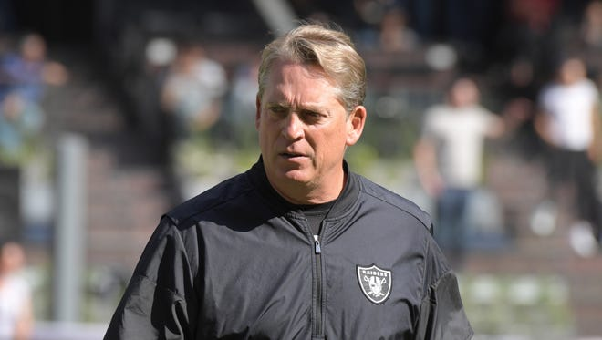 Oakland Raiders head coach Jack Del Rio reacts during an NFL International Series game against the New England Patriots at Estadio Azteca.