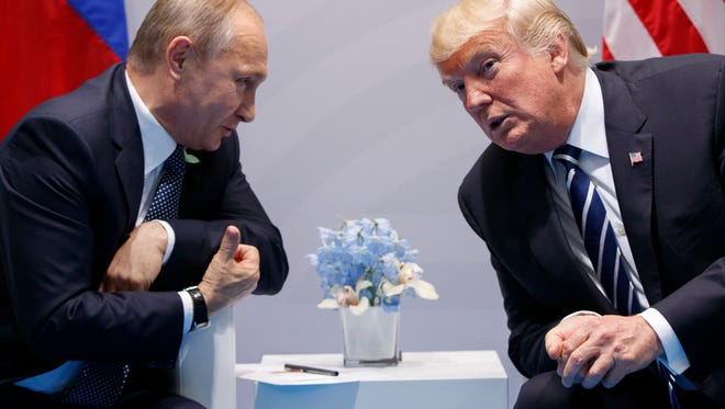 President Trump meets with Russian President Vladimir Putin at the G-20 Summit in Hamburg, July 7, 2017.