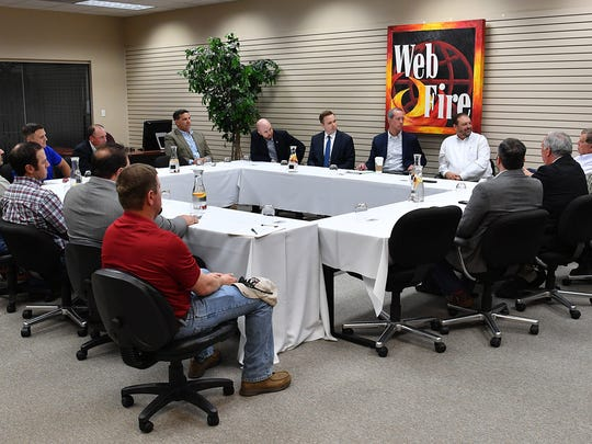 A group of farmers, producers and community leaders sat down with Congressman Mac Thornberry Wednesday morning at Web Fire Communications to discuss the upcoming farm bill, rural development and broadband infrastructure.