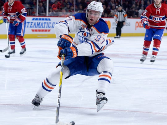 Edmonton Oilers forward Connor McDavid skates with the puck during the first period of the game against the Montreal Canadiens at the Bell Centre.
