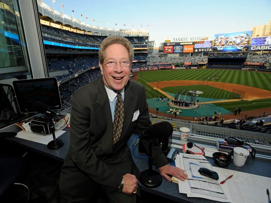 New York Yankees broadcaster John Sterling, photographed on Sept. 25, 2009, sitting in his radio booth before a baseball game against Red Sox at Yankee Stadium.