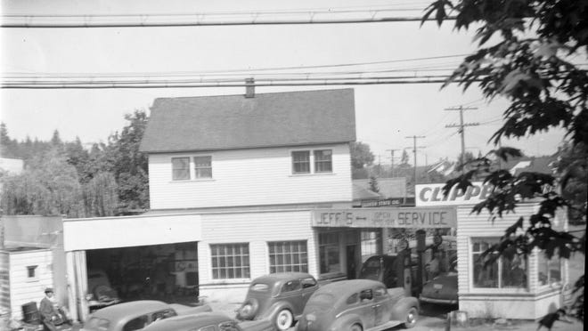 Jeff's Clipper Station, in Charleston at 245 Callow Avenue S, experiences a lineup in the mid-1940s because of war-time gas rationing. The 1940-41 black business coupe in the covered garage may be the newest car in the photo as Detroit was ordered to cease building civilian vehicles during war the to free up assembly lines for military production.To see more photos from the Kitsap County Historical Society Museum archives, visit www.facebook.com/kitsaphistory, Twitter KitsapMuseum, or stop by the museum at 280 Fourth St. in Bremerton. Call 360-479-6226 for information.