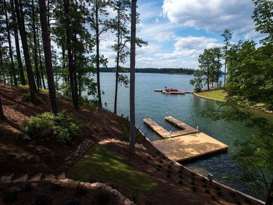 Lake Martin is seen from a home under construction