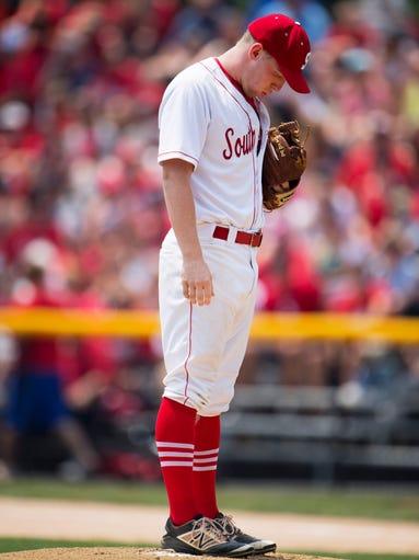 Southridge pitcher Logan Seger takes a deep breath