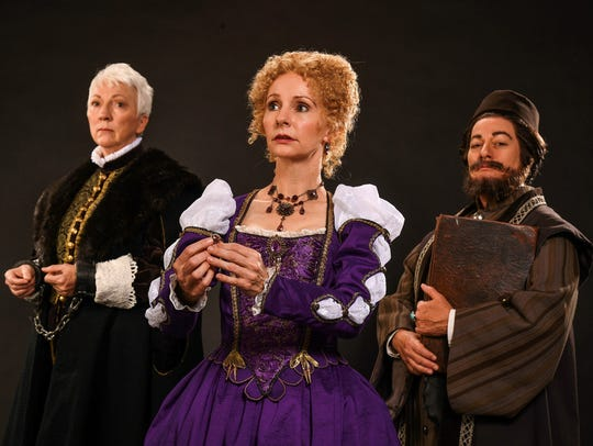 Leslie Brott (left) as Antonio, Tarah Flanagan as Portia
