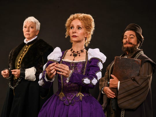 "Leslie Brott (left) as Antonio, Tarah Flanagan as Portia and Lisa Wolpe as Shylock in the Utah Shakespeare Festival's 2018 production of ""The Merchant of Venice."" The story of ""The Other"" will be the common focus of the season."