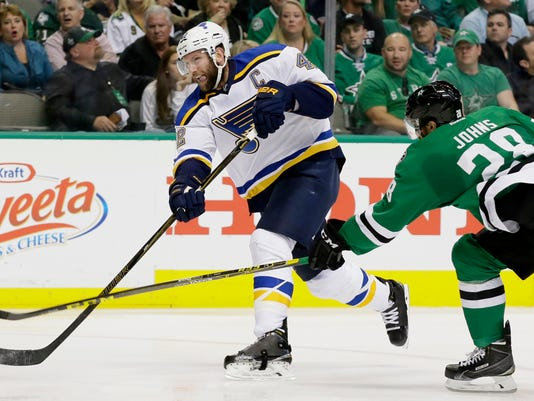 St. Louis Blues center David Backes (42) shoots a goal against Dallas Stars defenseman Stephen Johns (28) during the second period of Game 7 of the NHL hockey Stanley Cup Western Conference semifinals Wednesday, May 11, 2016, in Dallas. (AP Photo/LM Otero)