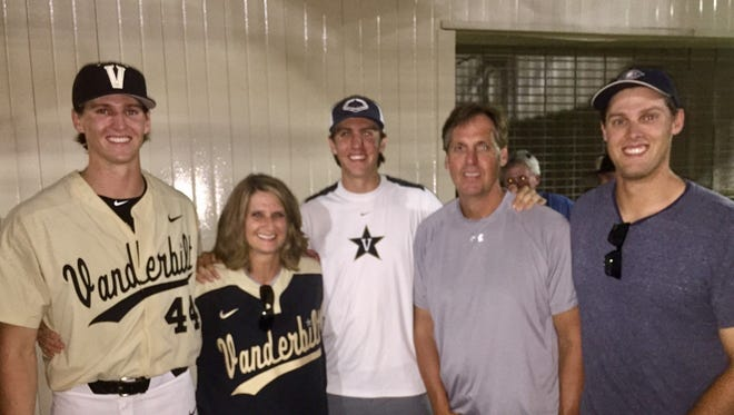 Vanderbilt pitcher Kyle Wright, left to right, with mother Belinda, brother Mitchell, father Roger and brother Trey.