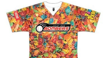 The front of the Battle Creek Bombers' special 'Fruity Pebbles' jersey.
