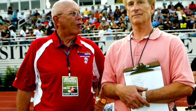 The late Ray McCrann (left) with Montclair Times correspondent Steve Tober at 2013 North-South football game.