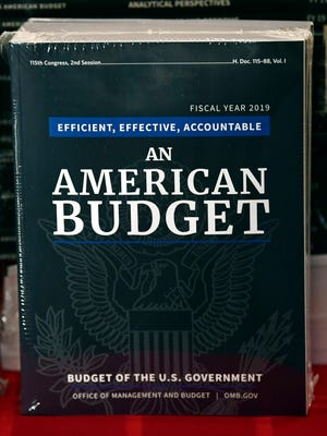 The President's FY19 Budget is on display after arriving on Capitol Hill in Washington, Monday, Feb. 12, 2018.
