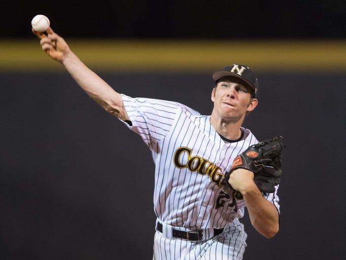 Northwest Rankin pitcher Matthew Webb delivers a first inning pitch against DeSoto Central.