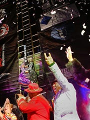 Members of the Bar-Kays celebrate the New Year at the Hard Rock Memphis Guitar Drop – A New Year's Eve Celebration on Dec. 31, 2014 in Memphis.