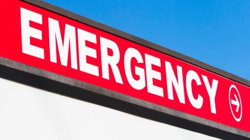 A stock image of an emergency sign.