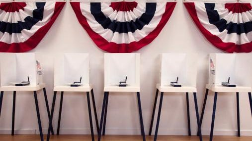 Voting booths in polling place
