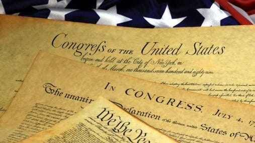 Getty Images/iStockphotoAmerican Constitution American Constitution and US Flag