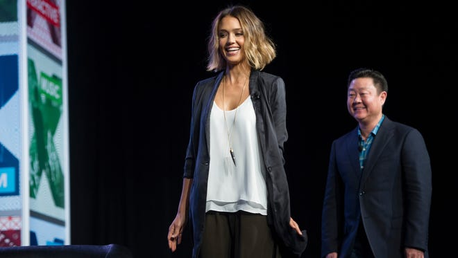"Actress Jessica Alba, founder of The Honest Company, and Brian Lee CEO & Co-Founder, The Honest Company, take the stage during SXSW panel ""Inc. Presents: The Honest Company"" during SXSW on March 15, 2015."