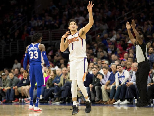 Suns guard Devin Booker (1) reacts to his 3-pointer