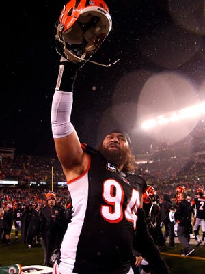 Cincinnati Bengals defensive tackle Domata Peko (94) celebrates the victory against the Denver Broncos at Paul Brown Stadium on Monday Night Football last year.