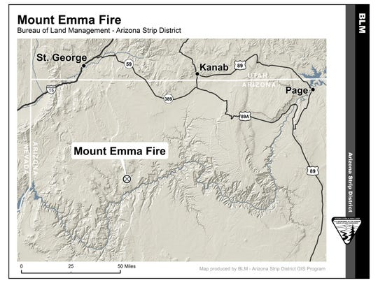 The Mt. Emma Fire had burned more than 4,000 acres as of late Monday. It was burning in the Grand Canyon National Park, 75 miles southeast of St. George.