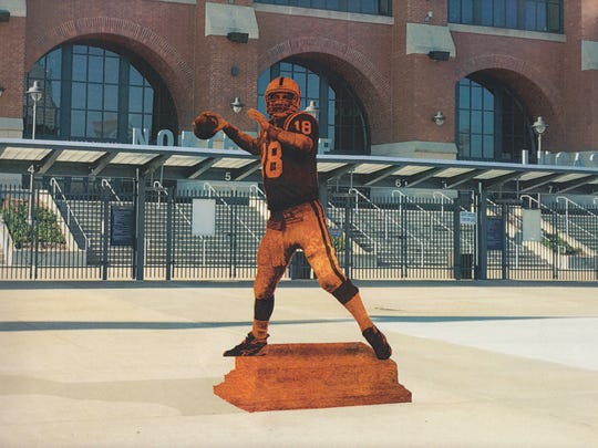 The proposed statue of Peyton Manning at the entrance to Lucas Oil Stadium.