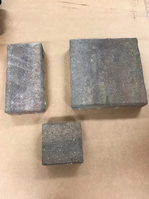Pictured are the bricks to be laid down at Veterans Football Field.