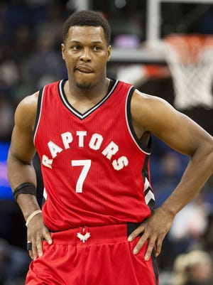 Toronto Raptors guard Kyle Lowry (7) looks on during the first half against the Minnesota Timberwolves at Target Center.
