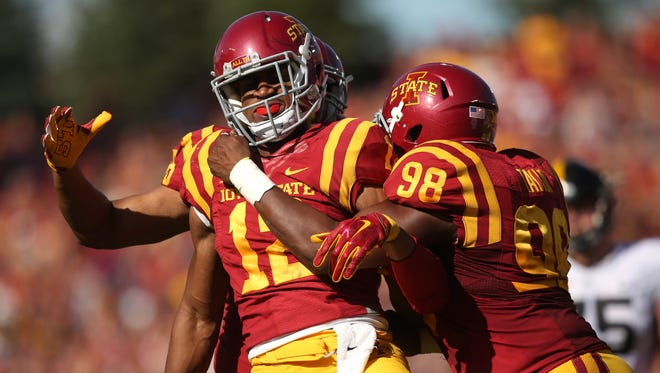 Iowa State linebacker Jay Jones celebrates after sacking Iowa quarterback C.J. Beathard on Sept. 12 at Jack Trice Stadium.