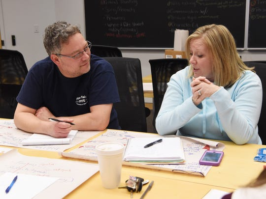 Teachers from the Pine Plains Central School District participate in a professional development program at Bard College. From right: Allison Beaudet, a 7th grade math teacher, and Craig Morton, a library media specialist.