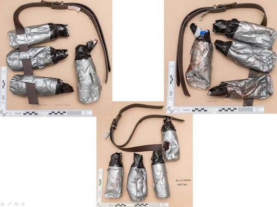 An undated handout photo issued by the Metropolitan Police, London, and made available on Sunday June 11, 2017 of fake suicide belts worn by one of the London Bridge attackers in the attacks of Saturday June 3 which killed several people and wounded dozens more.