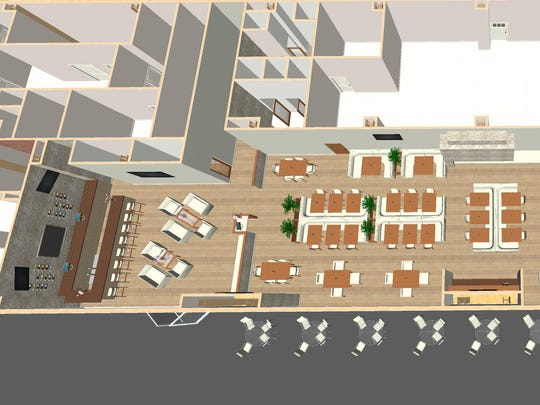 An aerial rendering of SAGE Cafe shows the plan for