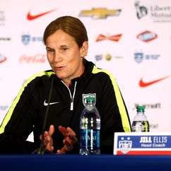 USA head coach Jill Ellis addresses the media at the USA women's soccer national team media day Marriott Marquis on May 27, 2015.