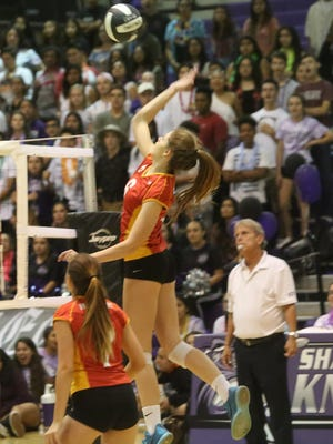 Shadow Hills High School hosted Palm Desert High, in red top uniform, volleyball in a tough game in Indio on September 28, 2017.