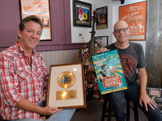 Bobby Vee's sons, Jeff Velline and Tommy Velline, hold