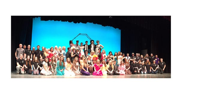 """Members of the cast and crew for Delsea Regional High School's production of """"The Wedding Singer."""""""