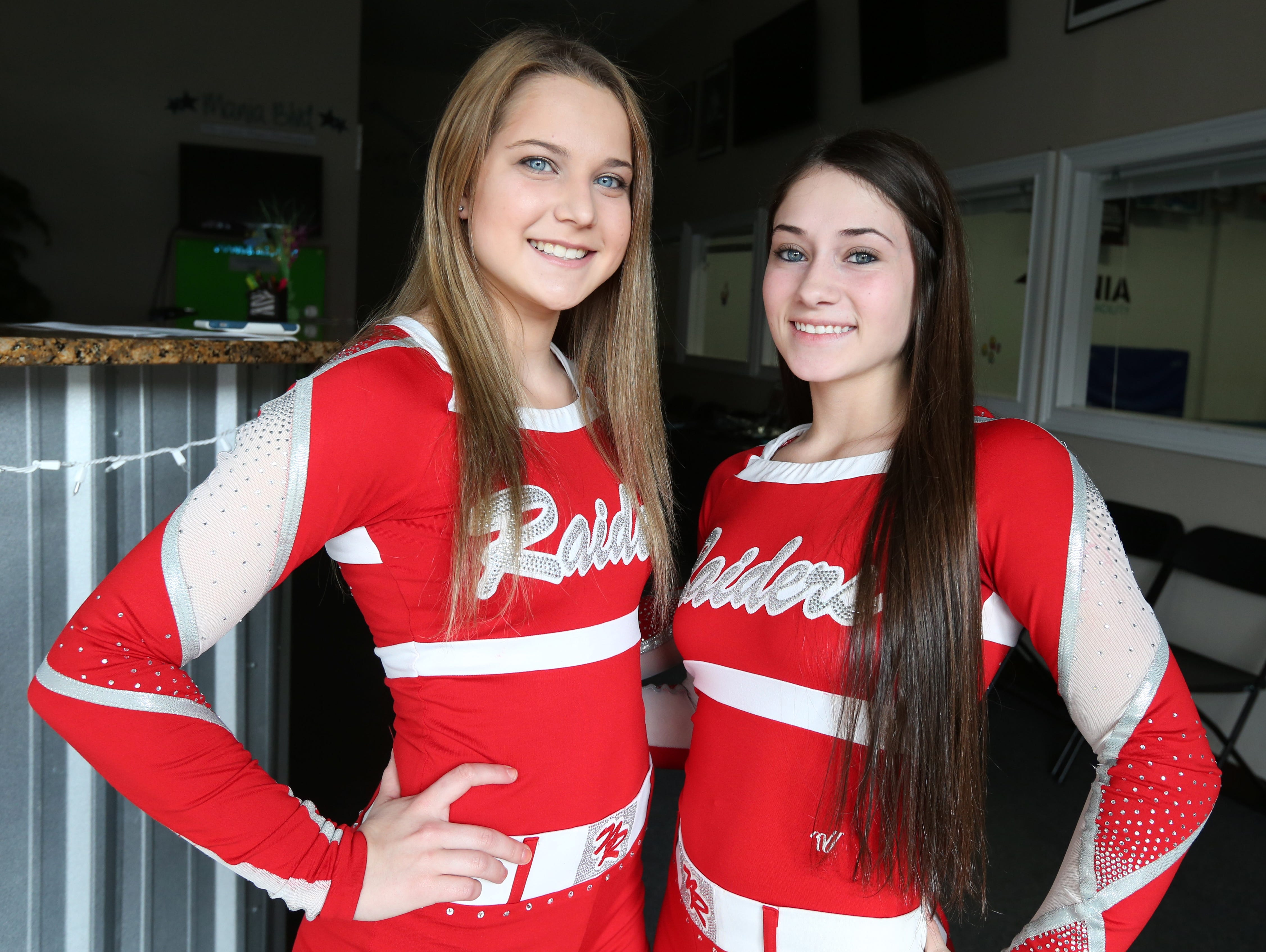 North Rockland's Kaitlyn Garvey, left, and Julia Garrison, Rockland co-cheerleaders of the year, April 1, 2016.