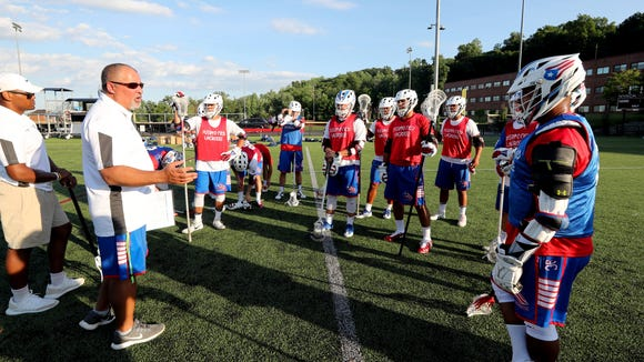 Jeff Ramos, head coach of the Puerto Rican National Lacrosse team, talks to his team before practice at Nyack High School June 29, 2018. Ramos is an assistant coach with the Nyack High School lacrosse team. The Puerto Rican national team will be traveling to Israel next month to play in the FIL World Championships. Several player on the team are from Westchester and Rockland counties.