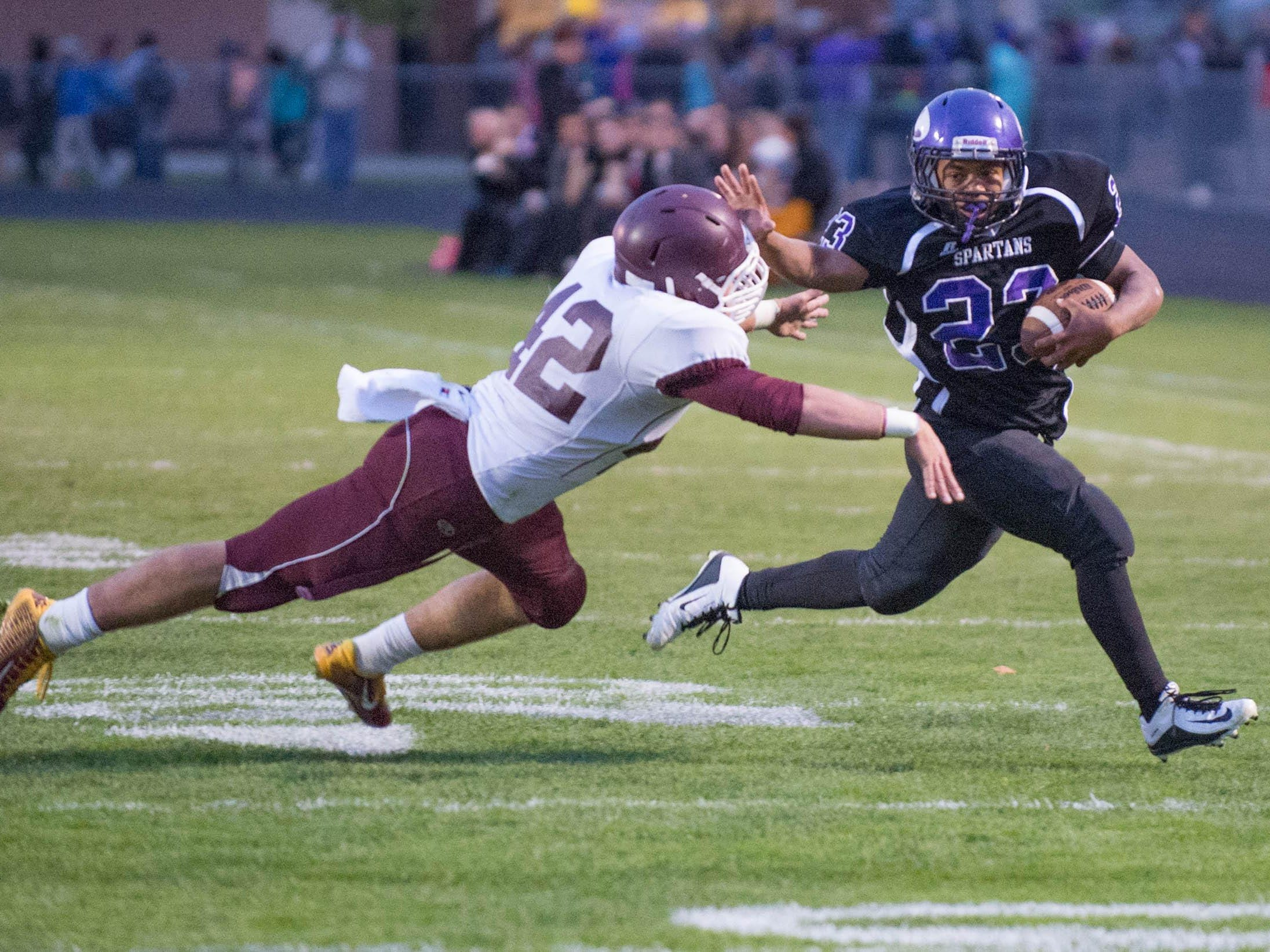 Lakeview's C.J. Foster advances the ball against Kalamazoo Central Friday evening.