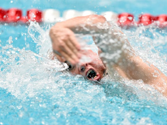 York Suburban's Ethan Staub swims his leg of the 200-yard freestyle relay in the District 3 Class 2A boys swimming championships Friday, March 3, 2017, at Cumberland Valley High School. The Trojans placed sixth.