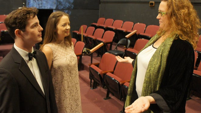 """The Stage Manager (played by Sarah Henley, right) presides over the wedding of George (Will Roper) and Emily (Jackie Jacobi) in Chester Theatre Group's production of """"Our Town."""" Thornton Wilder's Pulitzer-winning play will receive an innovative staging at Black River Playhouse tonight through November 19."""
