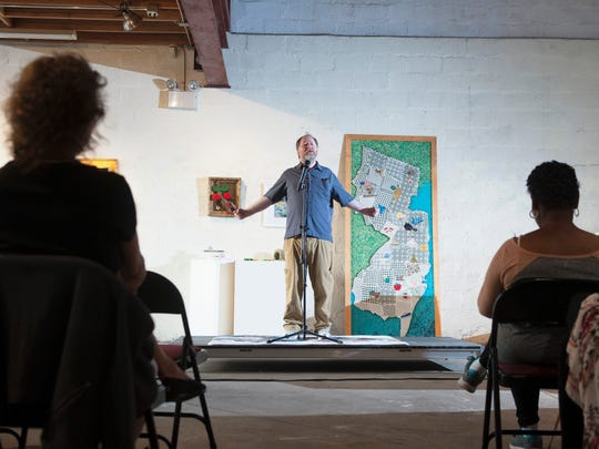 "Ian Hanley of Maple Shade tells a story during an open-mic storytelling event at Perkins Center For the Art in Collingswood, inviting the public to share stories related to the theme: ""Sink or Swim."", on Tuesday, June 26, 2018."