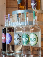 Bottles of spirits on display at Silo Distillery in Windsor, Vt.