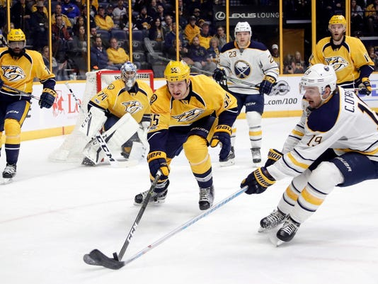 Nashville Predators left wing Cody McLeod (55) and Buffalo Sabres center Cal O'Reilly (19) reach for the puck during the first period of an NHL hockey game, Tuesday, Jan. 24, 2017, in Nashville, Tenn. (AP Photo/Mark Humphrey)