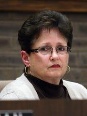 Jackson Township Councilwoman Ann Updegrave. Ocean County Prosecutor Joseph D. Coronato talks during a Jackson Township Municipal Meeting on the drug epidemic in the county. Jackson, New Jersey. Tuesday, October 14, 2014. David Gard /Correspondent